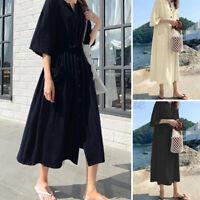 ZANZEA Womens Half Sleeve Button Down Shirt Sundrss Casual Loose Belt Long Dress
