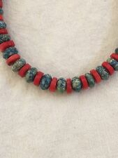 Native American Navajo Denim Lapis Coral  Sterling Silver Bead Necklace Gift