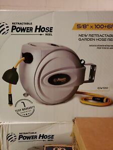 "Retractable Power Hose Reel 5/8"" x 100+ 6 ft"