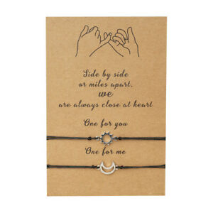 Sun Moon Friendship Lover Couple Charm Card Wish You Me Promise Bracelet Gift UK