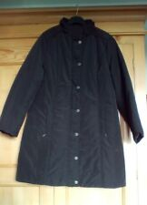 M&S Per Una Ladies Black Stormwear Long Coat with Floral Lining, size 16