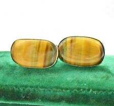 Vintage Sterling Silver Tigers eye Cufflinks Art Deco Peaky Blinders gift #R693