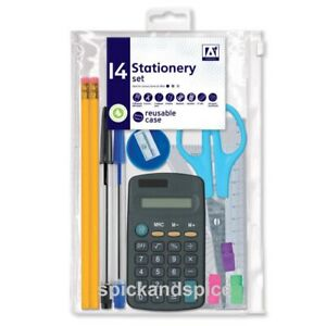 SCHOOL STATIONARY SET  PENS RULER HB PENCIL CALCULATOR STATIONERY BACK TO