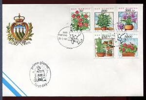 "32725) San Marino 1992 FDC "" Official San Marino' Plants"