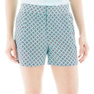 Joe Fresh Print Soft Aqua Shorts Size 14 New