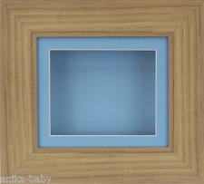 Small Oak effect Deep Box Display frame Medals 3D 2D Objects Baby Boy Casts Blue