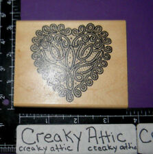 LACE DELICATE HEART DOILY RUBBER STAMP STAMPEDE RETIRED A1259F