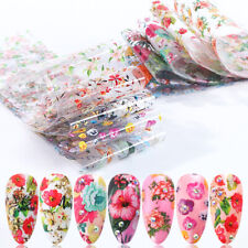 10 Nail Foil Transfer Stickers Holographic Leaf Flower Nail Art Starry Paper DIY