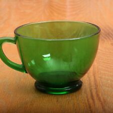 Vintage Anchor Hocking Forest Green Punch Cup Glass Handle