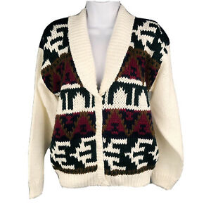 VTG Allison Brittney Size Small Cowl Neck Cardigan Sweater Ivory Pattern Soft
