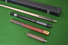 New 3/4 piece Handmade Ash Snooker/Pool Cue set W/ Case Extension Rosewood,TSC7