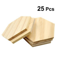 25 Wooden Hexagon Slices Shapes Coaster Wood Craft Blank Plaque DIY