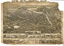 Reimpresión A4 de ciudades americanas ciudades Estados mapa Nashua Nh