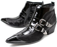 New Hot Leather Buckle Formal Dress Ankle Boots Mens Trendy Shoes Size 6.5-10.5