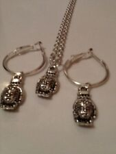 Buddha matching necklace and hoop earrings set silver in colour