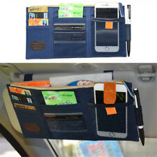 Car Sun Visor Organizer Pouch Bag Pocket Card Storage Holder Darkblue USWarehous