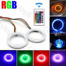Pair RGB LED Angel Eyes Light COB Car Headlight Halo Ring 80mm Remote Control