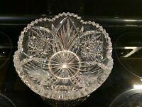 Antique Vintage American Brilliant Propeller Cut Glass Anita Bowl signed Libbey