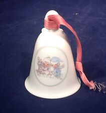 """Precious Moments """"Sharing Our Season Together"""" Porcelain Bell ©1989 Pre-Owned"""