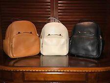 NEW RARE Leather Gold Cat Ears Candy Color Women Mini Travel Bagpack Shoulder