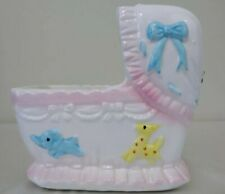 """Ceramic Baby Bassinet Bed Planter Holder with Music Box """"It's a Small World"""""""