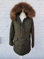 Damen Winter Mantel Parka Jacke mit Echtfell Fellkragen Pelz Fell oliv oder rosa