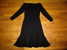 ST JOHN for SAKS sz 6 black knit long sleeve dress with V-neck back