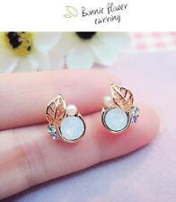 1 Pair Alloy Fashion Women Rhinestone Opal Leaf Ear Stud Earrings Jewelry