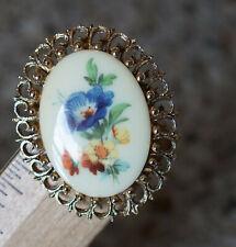 Vintage Pin Brooch Pendant Victorian Enamel Floral Flowers Blue Orange Gold Tone