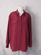 Women's Plus Impressions Blouse Long Sleeve Button Up Black Red Stripes Size 2X