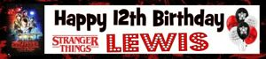STRANGER THINGS PERSONALISED BIRTHDAY CELEBRATION PARTY BANNER