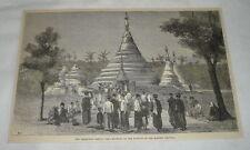 1884 magazine engraving ~ KEEKATSAN PAGODA, Near Rangoon, Burma