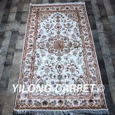 YILONG 3'x5' Handknotted Silk Carpet Traditional Easy to Clean Home Rug Y448C