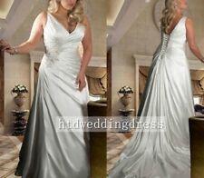 Custom V-neck Backless Plus Bridal Gown Wedding Dress Size 12-14-16-18-20-22-24+