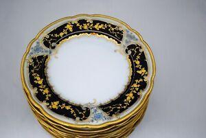 10 Antique Fisher & Miegs Pirkenhammer Dessert Plates Cobalt Blue & Raised Gold