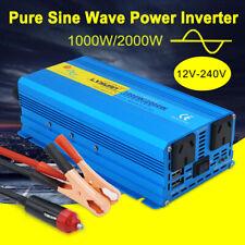 Pure Sine Wave Power Inverter 1000W/2000W DC 12V to AC 240V Car Van Converter
