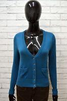 Maglione Cardigan Donna TOMMY HILFIGER Taglia S Pullover Blu Cotone Sweater