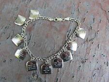 "Sterling Silver Ten Commandments Engraved Charm & Link Bracelet NEW 7"" Religious"
