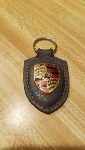 Vintage PORSCHE CREST  Leather Keychain