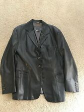 Versace Versus Gunmetal Grey Leather Jacket Men's - Made in Italy - Size 42/56