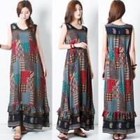 Women Plus Summer Casual Long Maxi Dress Sleeveless Sundress Tank Dresses