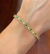Vintage 18k Yellow Gold, Diamond & Emerald Tennis Bracelet 3.00 Tcw.