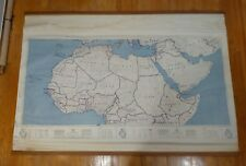 Pre-1967 mid century vintage Army Map Service North Africa map chart hanging