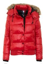 Superdry Shiny Padded Jacket Hooded Warm Winter Puffer Coat Shine Rouge Red