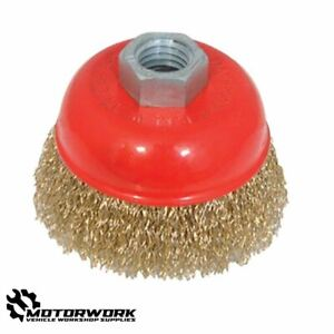 ANGLE GRINDER CRIMPED BRASSED STEEL WIRE CUP BRUSH CLEANING