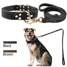 Soft Durable Real Leather Pet Dog Collar and Lead Small Medium Large Black Brown