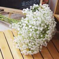 7 Head White Artificial Gypsophila Floral Flower Fake Silk Wedding Party Bouquet