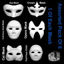 Assorted Plain Face Masks White Eye Cat Opera Fancy Dress Masquerade To Paint