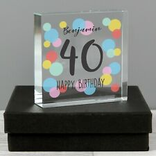 Personalised Birthday Colour Confetti Large Crystal Token or Paperweight Gift
