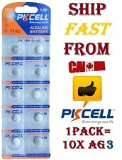 10X PKCELL Alkaline Battery AG3 LR41 GP192 V3GA SR41 192 392 Button Cell Coin 10